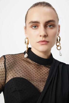 TRENDYOLMİLLA Siyah Puantiye Tül Detaylı Elbise TPRSS20EL0806 4