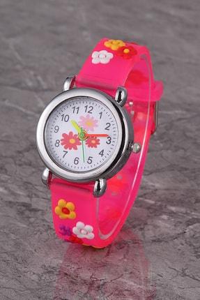Polo55 Plcs002r05 Çocuk Saat Koyu Pembe Çiçek Karekterli Çocuk Saati 0