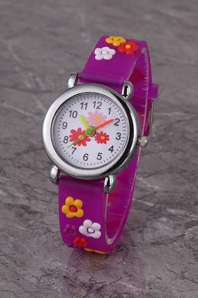 Polo55 Plcs002r03 Çocuk Saat Mor Çiçek Karekterli Çocuk Saati 0