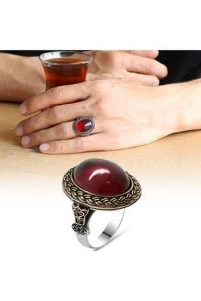 Gümüşkovan Kırmızı Ateş Kehribar Taşlı Oval Tasarım 925 Ayar Gümüş Erkek Yüzük 0