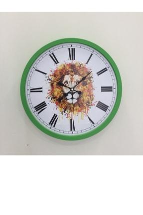 Platin Saat 36 Cm Ahşap Yeşil Aslan Temalı Duvar Saati 0