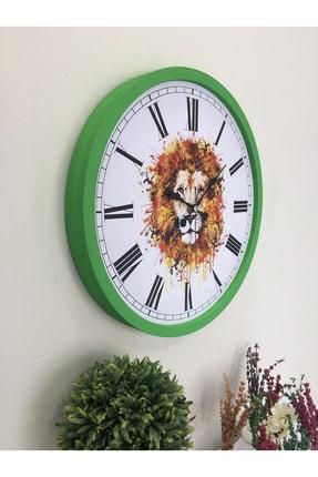 Platin Saat 36 Cm Ahşap Yeşil Aslan Temalı Duvar Saati 1