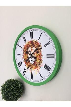 Platin Saat 36 Cm Ahşap Yeşil Aslan Temalı Duvar Saati 3