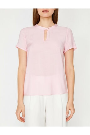 Koton Kadın Pembe Yaka Detaylı Bluz 2