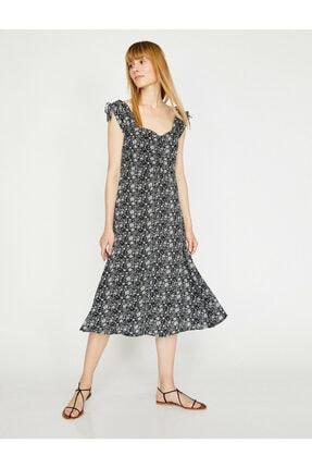 Koton Kadın Siyah Desenli V Yaka Sırt Detayliı Elbise 0