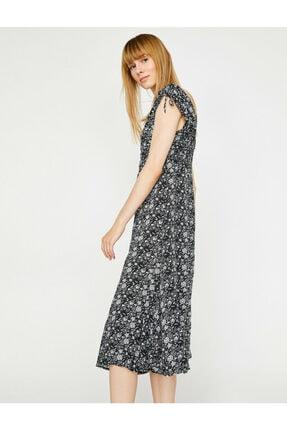 Koton Kadın Siyah Desenli V Yaka Sırt Detayliı Elbise 1