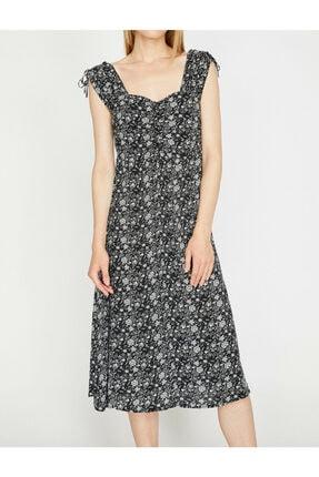 Koton Kadın Siyah Desenli V Yaka Sırt Detayliı Elbise 2