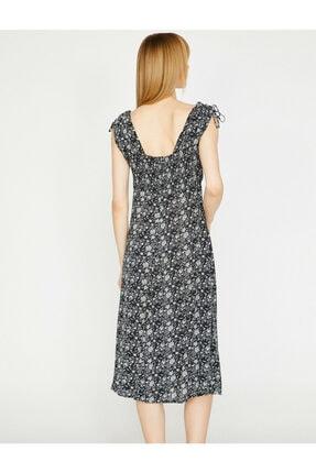 Koton Kadın Siyah Desenli V Yaka Sırt Detayliı Elbise 3