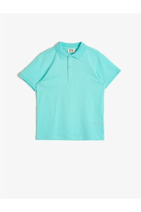 Koton Erkek Çocuk Yeşil Polo Yaka Pamuklu Düğmeli Kısa Kollu Tisört 0