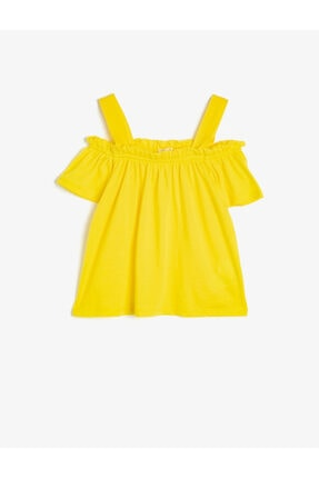 Koton Kız Çocuk Sarı Omuz Detayli T-Shirt 0
