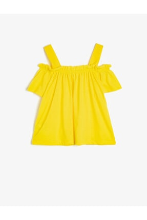 Koton Kız Çocuk Sarı Omuz Detayli T-Shirt 1