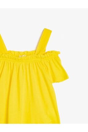 Koton Kız Çocuk Sarı Omuz Detayli T-Shirt 2