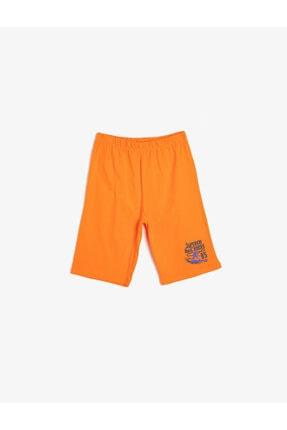 Koton Erkek Çocuk Turuncu Basic Pamuklu T-shirt Kumaşından Cepsiz Baskılı Beli Lastikli Şort 0
