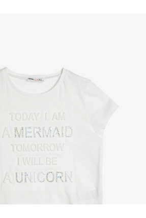 Koton Kız Çocuk Ekru T-Shirt 0YKG17453OK 2
