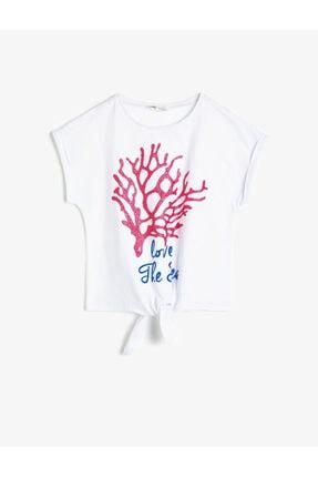 Koton Kız Çocuk Beyaz Pamuklu Yumuşak Simli Baskılı Bisiklet Yaka Kısa Kollu T-shirt 1