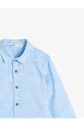 Koton Erkek Çocuk Kirçilli Kumastan Uzun Kollu Klasik Yaka Gömlek 2