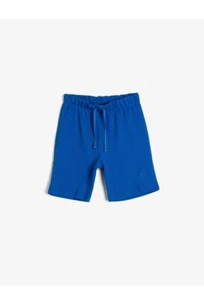 Koton Erkek Çocuk Mavi Pamuklu Pike Kumaştan Beli Kordonlu ve Lastikli Paça Nakışlı Şort 0