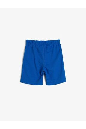 Koton Erkek Çocuk Mavi Pamuklu Pike Kumaştan Beli Kordonlu ve Lastikli Paça Nakışlı Şort 1
