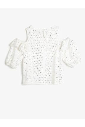 Koton Kız Çocuk Parlak Beyaz Puantiyeli Dökümlü Kumaş Bluz 1