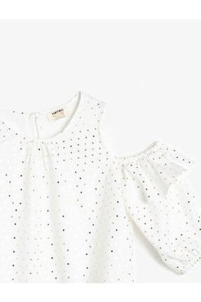 Koton Kız Çocuk Parlak Beyaz Puantiyeli Dökümlü Kumaş Bluz 2