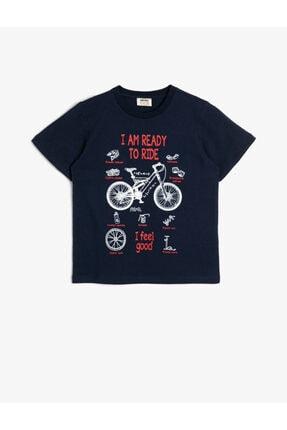 Koton Erkek Çocuk Mavi Pamuklu Bisiklet Baskili Kisa Kollu Bisiklet Yakali Tisört 0
