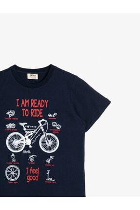 Koton Erkek Çocuk Mavi Pamuklu Bisiklet Baskili Kisa Kollu Bisiklet Yakali Tisört 2