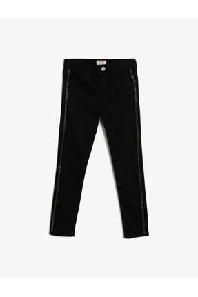 Koton Kız Çocuk Siyah Esnek Denim Kumasindan Fermuarli Cepli Yani Tasli Seritli Jean Pantolon 0