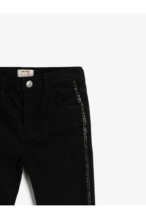 Koton Kız Çocuk Siyah Esnek Denim Kumasindan Fermuarli Cepli Yani Tasli Seritli Jean Pantolon 2
