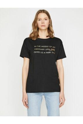Koton Kadın Siyah T-Shirt 2