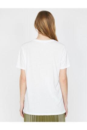 Koton Kadın Beyaz Varak Yazı Baskılı Bisiklet Yaka Standart Kalıp T-shirt 3
