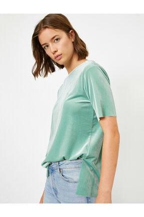 Koton Kadın Yeşil Kadife Kisa Kollu Bisiklet Yaka T-shirt 1