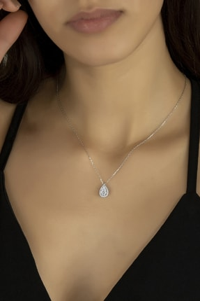 Kara Jewelry Gümüş Kolye Original Swarovskı Damla Taşlı Bayan Kolye 0