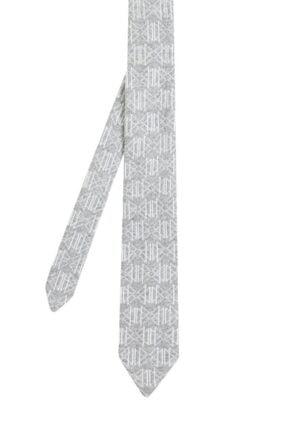 Hemington Desenli Açık Gri Örgü Kravat 0