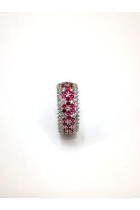 Omar Silver Kadın Tamtur 5 Sıra Bordo Çiçek Zirkon Taşlı Gümüş Yüzük 1