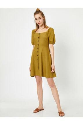 Koton Kadın Sarı U Yaka Kısa Kollu Düğme Detaylı Midi Elbise 1