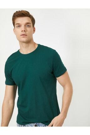 Koton Erkek Yeşil Bisiklet Yaka Slim Fit Basic T-Shirt 1