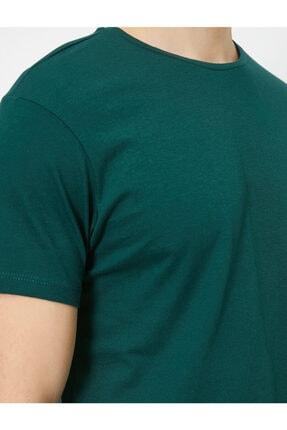 Koton Erkek Yeşil Bisiklet Yaka Slim Fit Basic T-Shirt 4