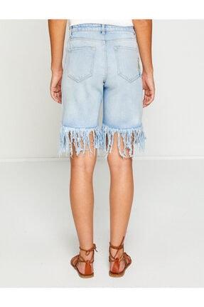 Koton Kadın Mavi Payetli Jean  Şort 3