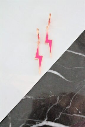 Mss Chris Jewelry Pembe Neon Şimşek Küpe 0