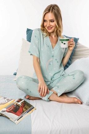 Lohusa Sepeti Kadın Mint Önden Düğmeli Pijama Takımı 1