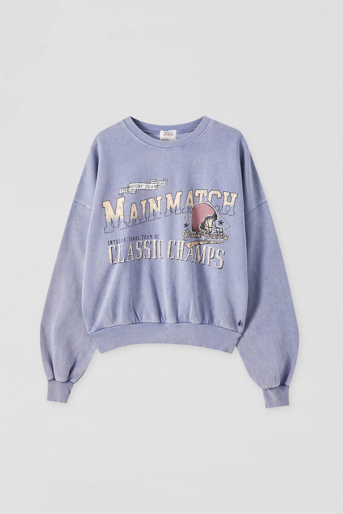 Pull & Bear Kadın Bulut Mavisi Kontrast Sloganlı Sweatshirt 09594307 4