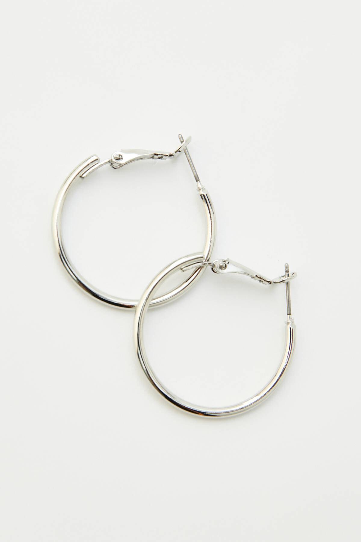 Pull & Bear Kadın Gümüş Sembol Ve Asma Kilit Küpe Seti 09996375 3