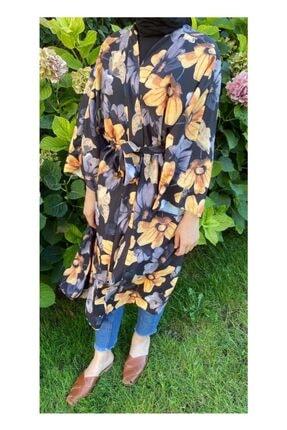 Woo'la Kadın Siyah Çiçekli Kimono 1
