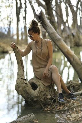 Crep Tekstil Bej Rengi Eteği Fırfırlı Elbise 0