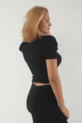 dcollection Kadın Siyah Yaka Gipeli Bluz 1