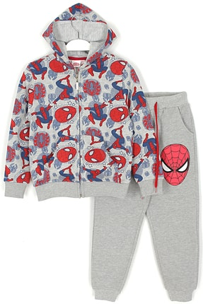 MARVEL Erkek Çocuk Gri Örümcek Adam Kışlık Kapşonlu Eşofman Takımı 0