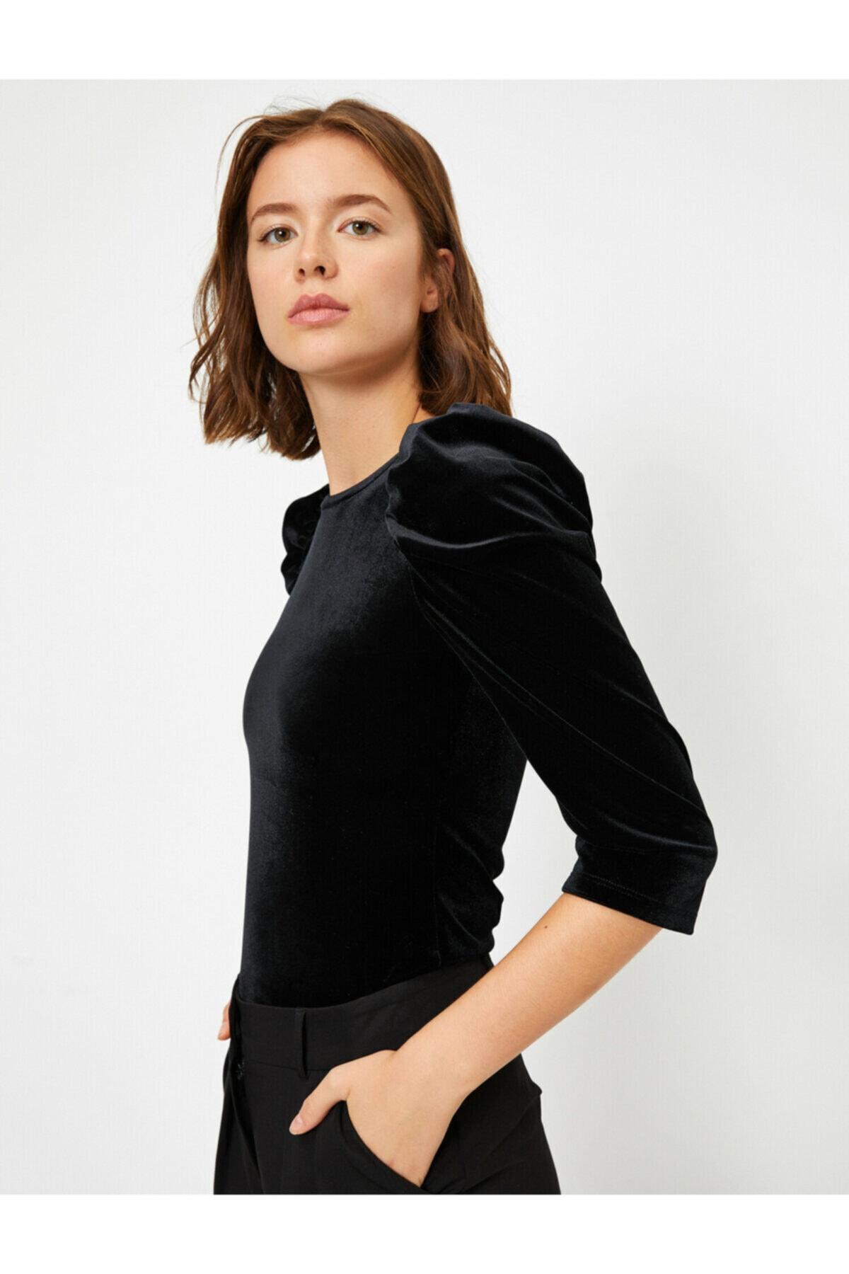Kadın Siyah Kadife 3/4 Kollu T-shirt