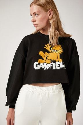 Happiness İst. Kadın Siyah Baskılı Crop Sweatshirt FF00029 1