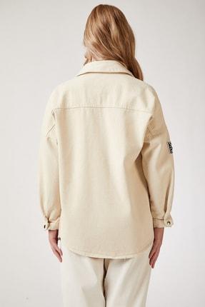 Happiness İst. Kadın Krem Uzun Kot Gömlek Ceket US00137 3