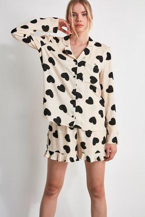 TRENDYOLMİLLA Siyah Kalp Desenli Dokuma Pijama Takımı THMAW21PT0043 1